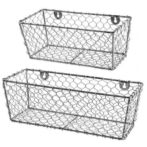 New Primitive Farmhouse Rustic Set 2 En Wire Wall Basket Shelf Bins