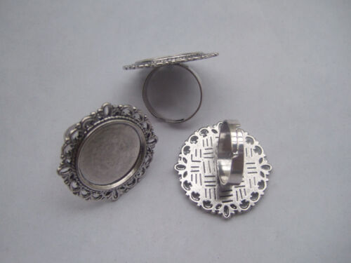 4 x Antique Silver Adjustable Ring Blanks Base 20mm Cameo Cabochon Settings
