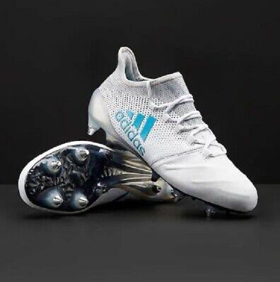 ADIDAS X 17.1 SG in Pelle Bianco Blu Grigio Scarpe Da Calcio Misura UK 7.5 10 | eBay