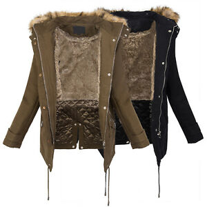 low priced 3d4d5 aa1f0 Details zu Damen Winter Parka Jacke Mantel warm Winterjacke Fell Schwarz  Khaki D-236 NEU