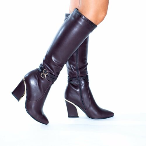 Ladies Womens Knee High Calf Winter Riding Boots Mid Low Chunky Block Heel Shose