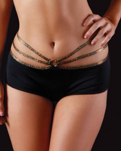 Made in America. BodyZone Apparel Tri-Strap Scrunch Back Shorts Black//Gold