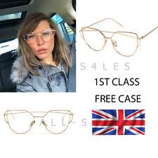 NEW Rose Gold Clear Lens Cat Eye Sunglasses DESIGNER STYLE + FREE CASE UK