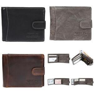 Herren-Geldboerse-Geldbeutel-Portemonnaie-echt-Leder-Querformat-RFID-Schutz-Wild