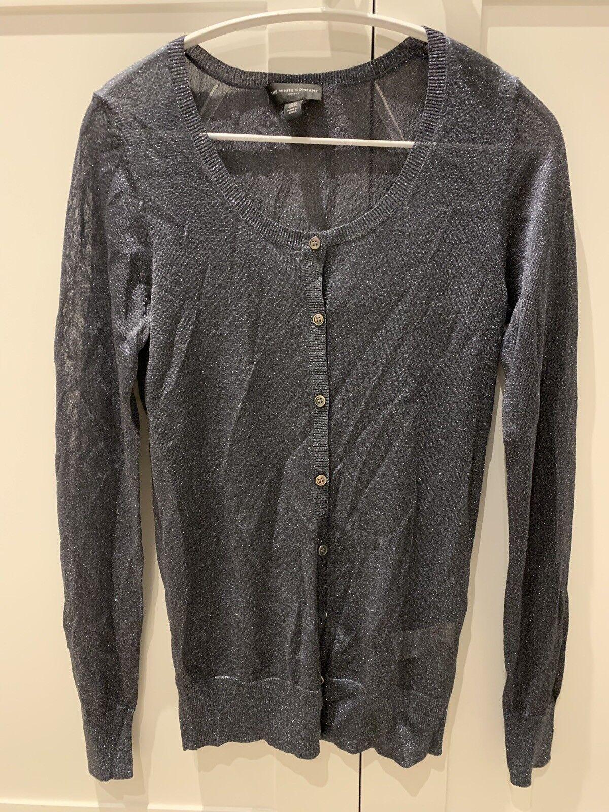 WHITE COMPANY Sparkly Grey Lurex Cardigan, Size XS  BNWOT