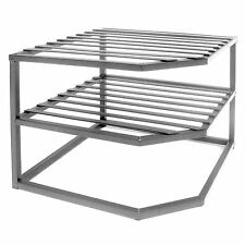 Kitchen Organizer Cabinet 2-Tier Shelf Corner Drawer Dish Bowl Storage Iron Rack
