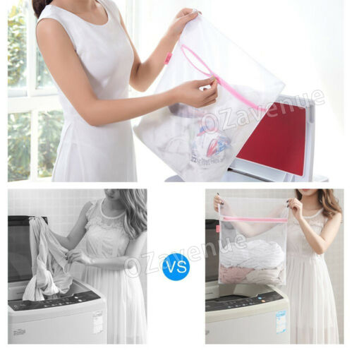 Laundry Wash Bag 4 sizes Washing Aid Zipper Mesh Clothes Bra Socks Delicate Bran