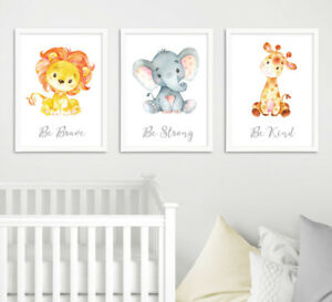 Details About Safari Jungle Animal Quote Elephant Baby Nursery Wall Art Prints Set Grey Decor