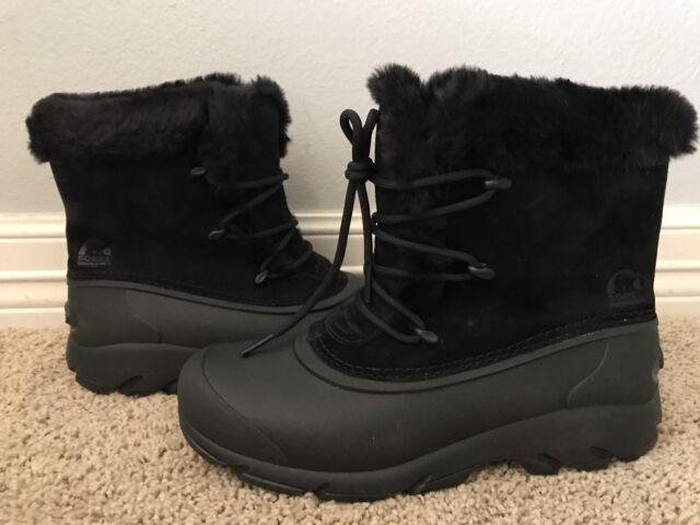 f9bcfbd5c4a21 New SOREL Women's Snow Angel Lace Black Waterproof Fur Boots Sz 7 $100