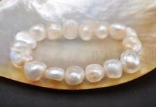 New 8-9MM Natural White Baroque Freshwater Cultured Pearl Stretch Bracelet 7.5''