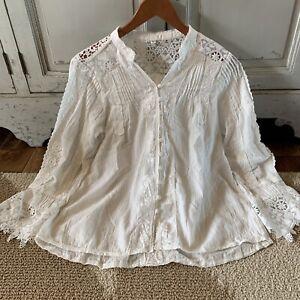 Medium Vtg 70s White and Beige CROCHET /& EMBROIDERED Blouse