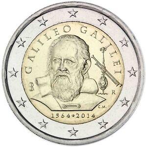 Italien-2-Euro-Galileo-Galilei-2014-Gedenkmuenze-Praegefrisch