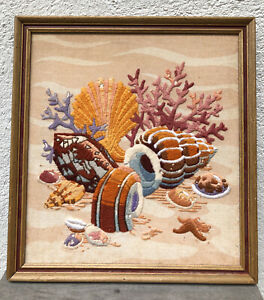 Vintage 70s Wall Art Crewel Embroidered Shell Framed Hanging Mid Century Pic