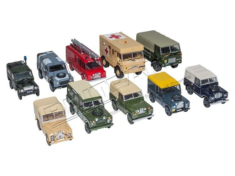 10 PIECE LAND ROVER MILITARY SET 1.76 SCALE OXFORD DIE CAST MODELS DA1526
