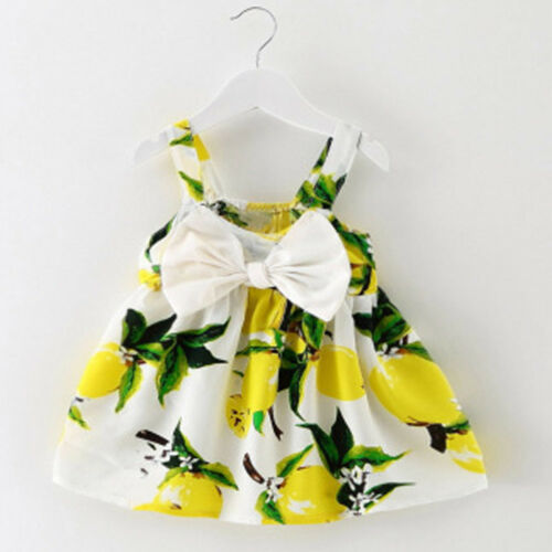 Toddler Kids Girls Printed Party Dress Big Bow Sleeveless Princess Tutu Dress