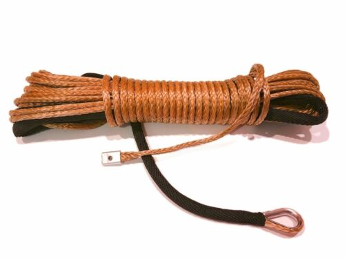 """BROWN Synthetic Winch Rope Line Cable 1//4/"""" x 50/' 7000 LB With Rock Guard For ATV"""