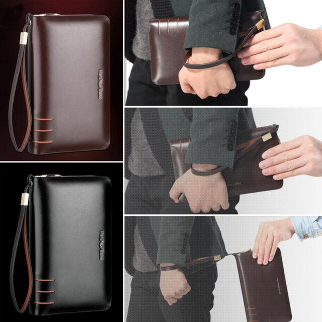 Men Leather Wallet Wristlet Clucth Bag Business Purse Cash Credit Card Holder