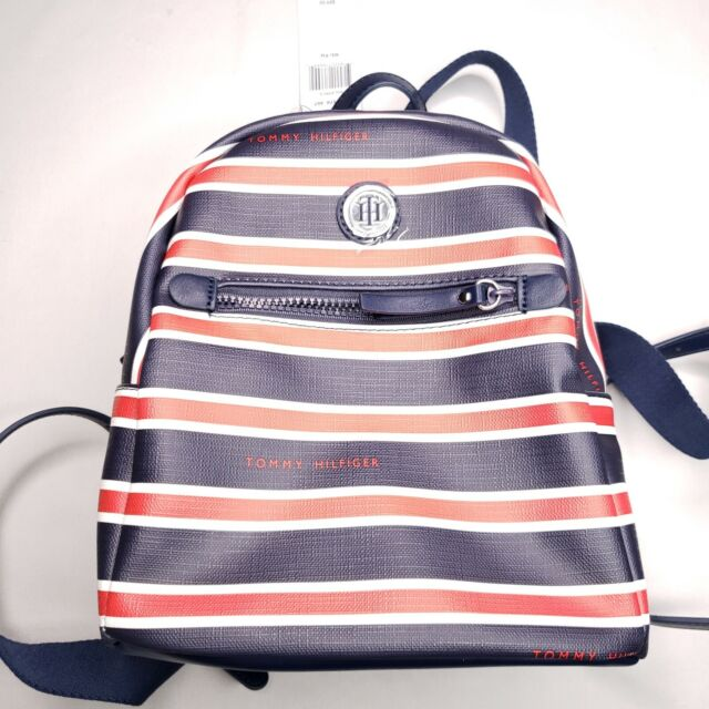 Tommy Hilfiger Womens Red White Blue Striped Mini Backpack Purse