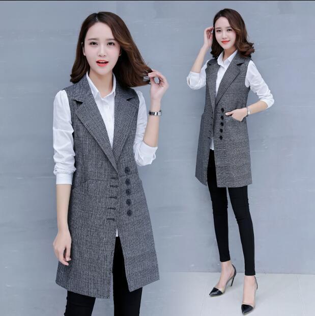 Womens Wool Blend Sleeveless Trench Long Vest Suits Waistcoat Slim Single Breast