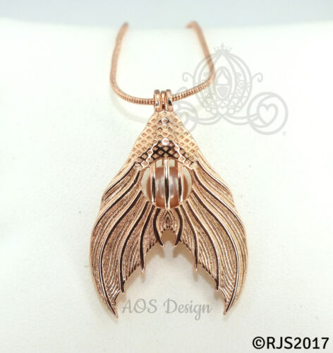 Mermaid Tail Pearl Cage Rose Gold Plated Locket Ariel Princess CHARM ONLY