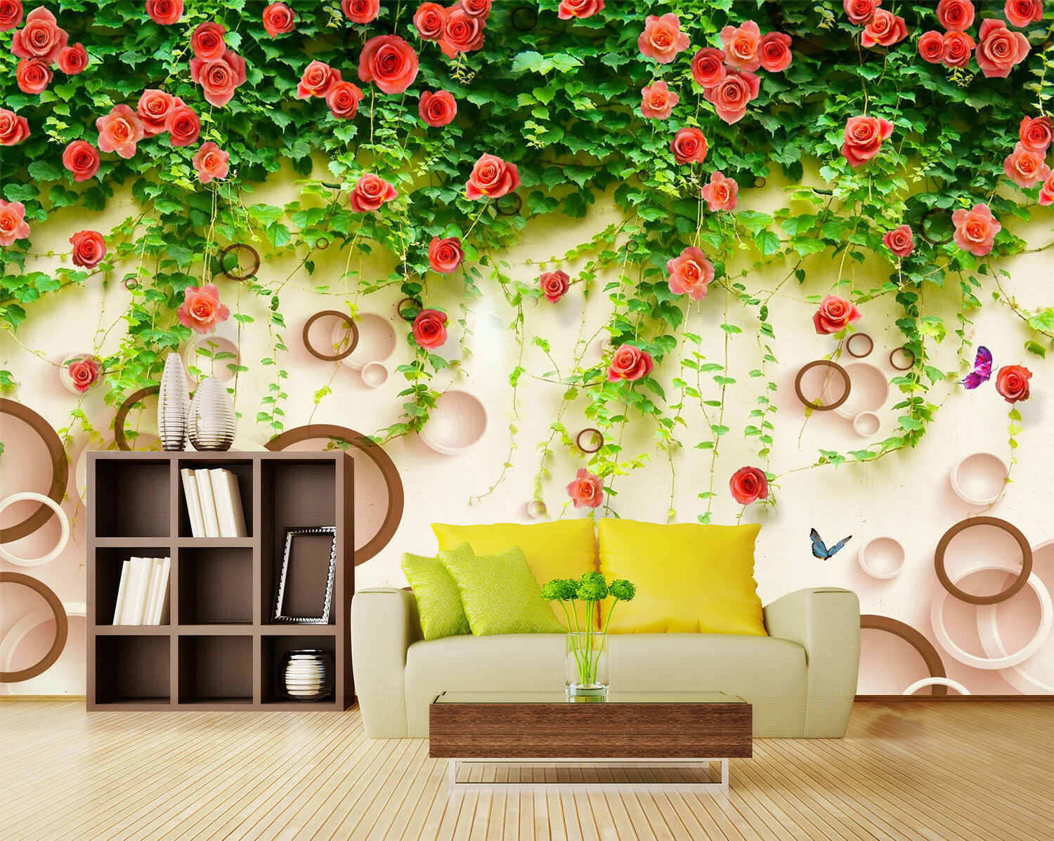 3D Flowers Leaves 57 Wallpaper Murals Wall Print Wallpaper Mural AJ WALLPAPER UK