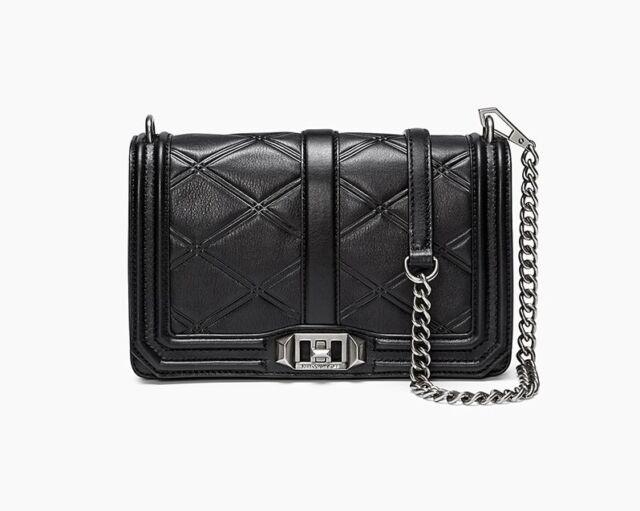 NWT Rebecca Minkoff LOVE Embossed Leather Crossbody Bag BLACK Silver HW   300+ 68324cf15771a