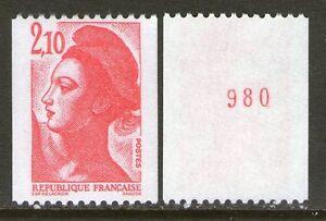 1984-Marianne-2322a-LIBERTE-de-Gandon-variete-NUMERO-ROUGE-nf-sans-charniere