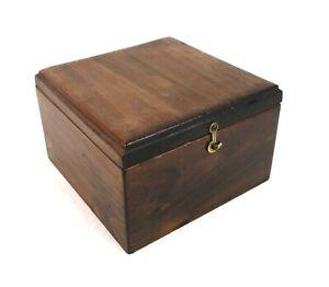 "Vintage Solid Wood Square Storage Box Interior Dimension 5 1/8"" x 5 1/4"""