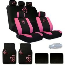 New Ultimate Pink Heart Seat Covers Headrest Covers & Mats Gift Set For Nissan