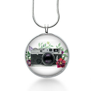 Watercolor-Photograph-Necklace-Camera-Jewelry-Floral-Pendant