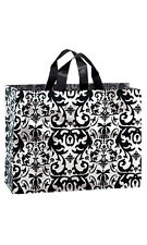 """Count of 100 Large Black Damask Frosted Plastic Shopping Bags 16""""x6""""x12"""""""