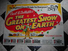 "RARE Affiche ancienne-Cirque-Cinéma""The GREATEST SHOW on EARTH""Cecil B-DeMille's"