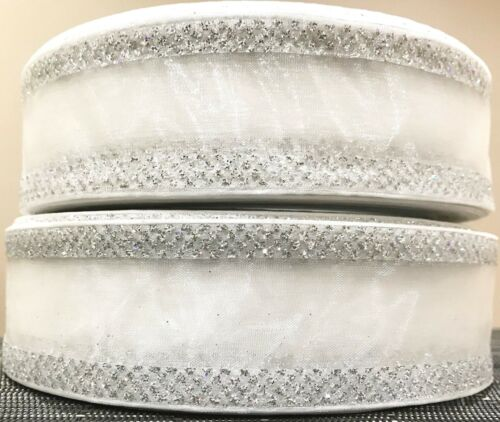 WHITE ORGANZA SPARKLE BLING EDGED WIRE EDGED CRAFT RIBBON 2 YARDS 38mm WIDE