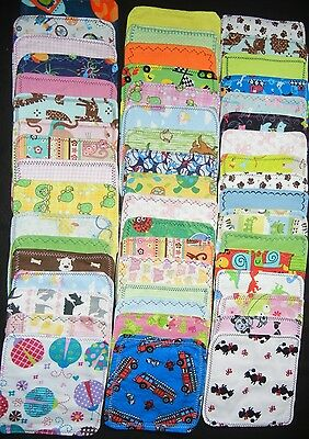 NEW Homemade 10 Double Layered Flannel Cloth Wipes// Washcloths// Napkins Washable