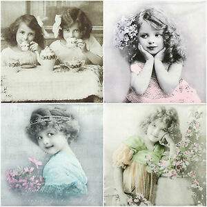 4x-Single-Lunch-Party-Paper-Napkins-for-Decoupage-Craft-Vintage-Girls-mix