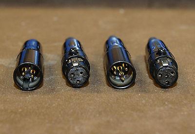 Goldkontakte Gold Stecker Weiblich TA3F Steckverbinder Mini-XLR Schwarz 3 Pin