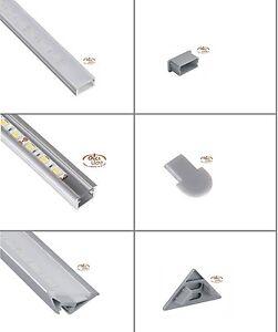 eloxierte aluminium profile inkl abdeckung f r led b nder stripes streifen ebay. Black Bedroom Furniture Sets. Home Design Ideas
