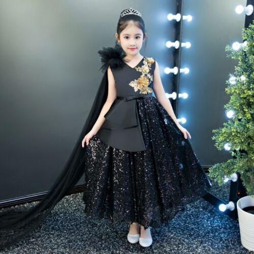 Royal Black Appliques Luxury  Birthday Wedding Princess Flower Girls Dress