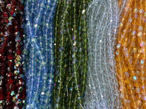 Beads  Fire Polished Beads Assortment 1500 Beads Czech Glass Beads Bundle 6MM