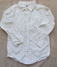 EUC Gymboree Celebrate Spring White Brown Green Striped Shirt Size XS 3-4 3 4