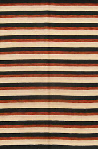 Striped-Design-Modern-Nepalese-Tibetan-Oriental-Hand-Knotted-7x10-Wool-Area-Rug