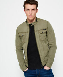 New Mens Superdry Denim Biker Jacket Trench Green
