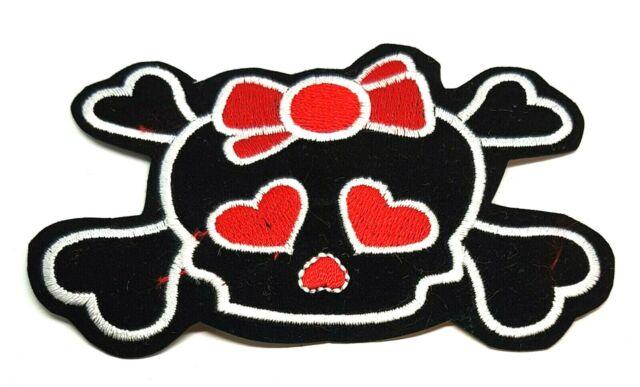 Red Ribbon Black Bone Skull Iron Sew On Patches
