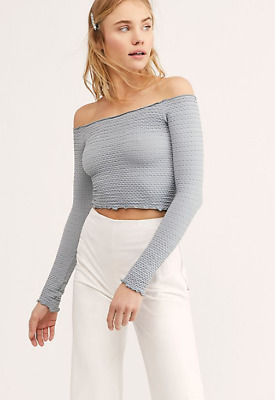 NEW Free People Intimately Textured Long Sleeve Crop Top Berry XS//S-M//L $54.11