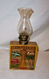 """VINTAGE SEATTLE,  WA SPACE NEEDLE SOUVENIR 9 """" TALL OIL LAMP WITH GLASS CHIMNEY"""