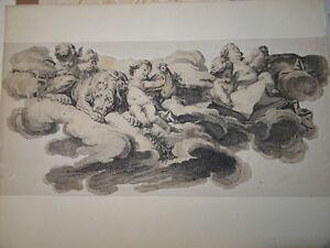 Ecole-FRANCAISE-XVIII-Gravure-ALLEGORIE-ANGES-CHERUBIN-PUTTI-BOUCHER-EISEN-1750