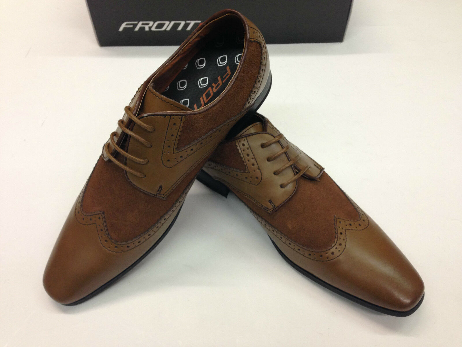 Da Uomo in Pelle Tan Brown Brogues due toni, perfetto con Tweed