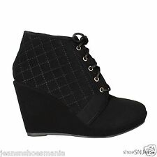 Women Wedge High Heel Platform Lace Up Booties Shoes Olesia-27 Black Size 10