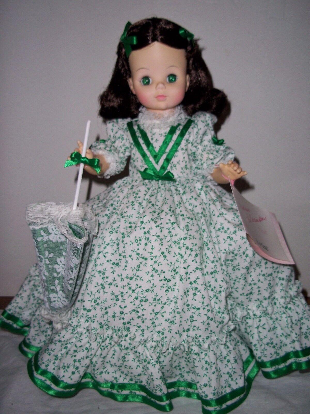 14  Scarlett Floral verde y blancoo - por Madame Alexander - 1987-como Nuevo