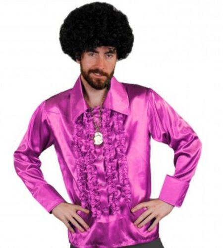 """Pink Satin 70/'s 80/'s Ruffle Frilly Disco Shirt Fancy Dress Costume 46-52/"""" Chest"""